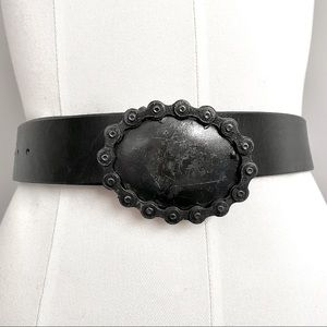 "Handmade Unique Black Leather Belt Oval Bike Chain Buckle - 36"""
